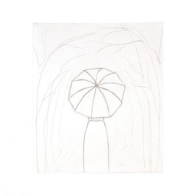 girl under umbrella sketch